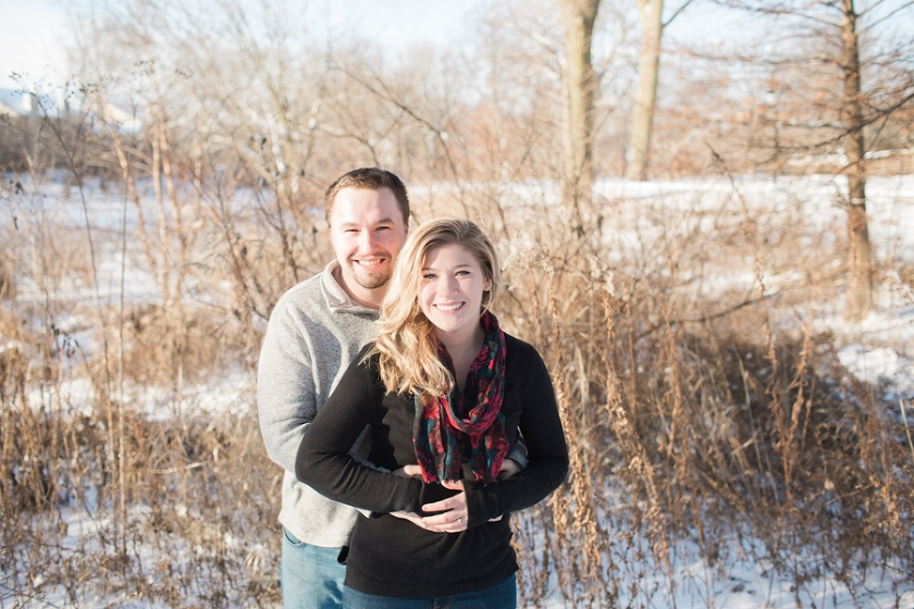 A winter engagement session at the Naperville Riverwalk